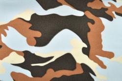 Universalstoff leicht - Camouflage - Hellblau/Braun