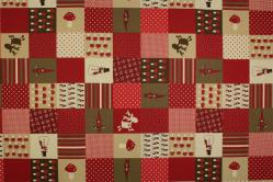 Dekostoff Leinen - Weihnachtspatchwork - Rot