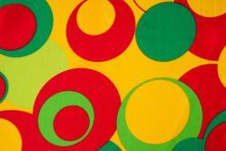 Universalstoff - Kreise rundum - Gelb/Grün/Rot