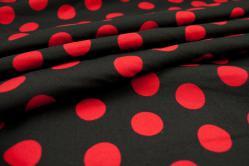 Universalstoff - Punkte - Schwarz/Rot