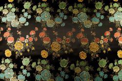 China Seidenimitat Blume - Schwarz