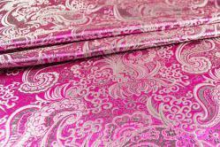 China Seidenimitat Paisley-Motiv - Silber/Pink