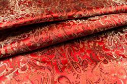 China Seidenimitat Paisley-Ornament - Rot/Kupfer