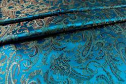 China Seidenimitat Paisley-Ornament - Türkis/Kupfer