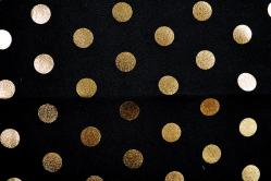 Universalstoff Metallic Dots - Schwarz/Gold