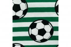 Fußball-Baumwollstoff - Streifen - Grün/Weiß