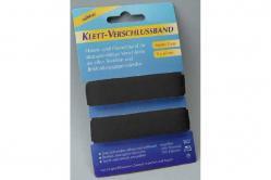 Klett-Verschlussband - 2 cm breit, 2 x 50 cm - Schwarz