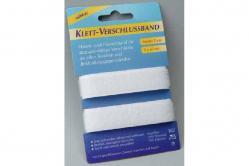 Klett-Verschlussband - 2 cm breit, 2 x 50 cm - Weiß