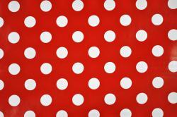 Wachs-Tischtuchstoff - große Punkte - Rot
