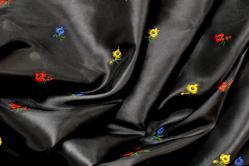 Taft deluxe Streublume bestickt - schwarz