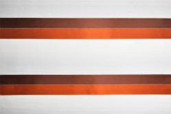 Gardinenstoff transparent - Querstreifen - Rostrot/Terra