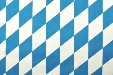 Baumwollstoff - Bayerische Raute groß - Weiß/Blau