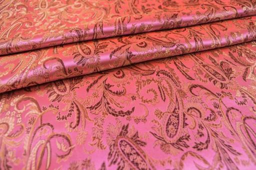 China Seidenimitat Paisley-Ornament - Rosa/Kupfer