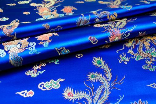 Jacquard-Satin - Chinesische Drachen und Pfauen - Royal